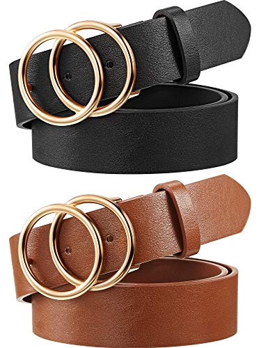 2 Pieces Women Leather Belt Faux Leather Waist Belts with Double O-Ring Buckle (Color Set 1, S)