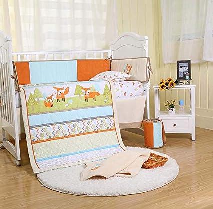 Amazon Com Brandream Playful Fox Crib Bedding Set Mint Lattice