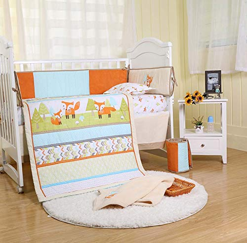 Brandream Playful Fox Crib Bedding Set Mint Lattice Bedding Arrow Print Crib Bedding Set Woodland Nursery Bedding Set Multi-Colors Bedding Unisex 8pcs