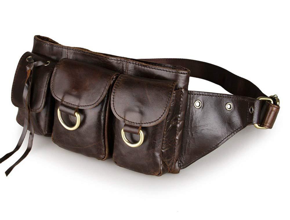 Herren Taschen, bequem und langlebig zum Wandern, Laufen, Radfahren Outdoor-Sporttaschen, Top-Layer-Leder Herren Retro-Taschen koreanische Leder Casual Wild Pouches