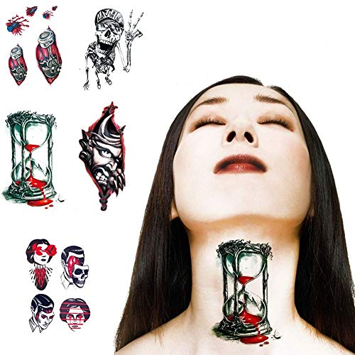 Temporary Tattoos Halloween Fake Scar Realistic Blood Mask Wound Body Make up Stickers for Adults and Kids, 5 sheets VIWIEU Scary Water Slide Tattoos for Zombie Costume Party Theater Group for $<!--$7.99-->