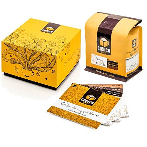 Tanzania Peaberry Coffee - Whole Bean Coffee - Freshly Roasted Coffee - Cubico Coffee - 12 Ounce (Single Origen Peaberry Tanzanian Coffee) - Gift Box