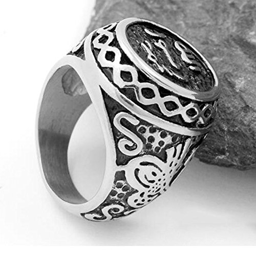 JAJAFOOK Stainless Steel Signet Muslim Islamic Ring Arabic