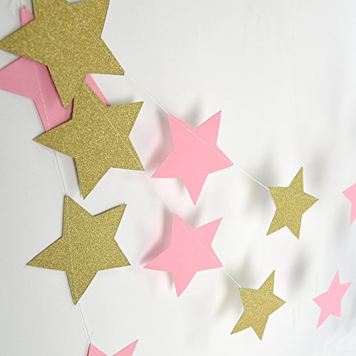 2 PCS of 8 Feet Long Five Star Paper Garland Hanging Décor Wedding Baby Shower Party Decoration Sparkle Twinkle Star Paper Garland(Twinkle Gold&Pink)