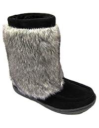 Women's Suede Boot, Faux Fur, Rubber Sole