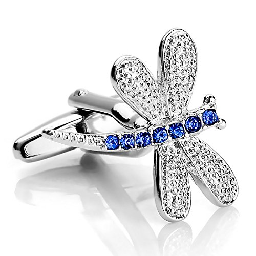 INBLUE Rhodium Cufflinks Dragonfly Business
