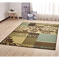 Ottomanson Ottohome Collection Contemporary Damask Design Area Rug with Non-Skid (Non-Slip) Rubber Backing, 5'0' x 6'6', Brown