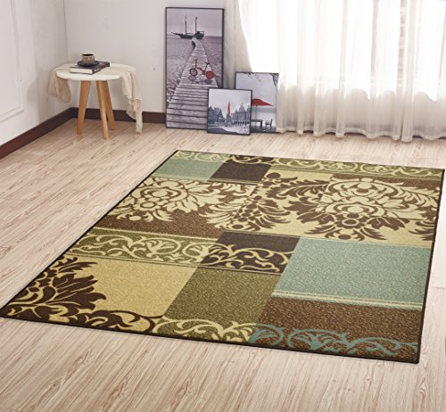Ottomanson Ottohome Collection Contemporary Damask Design Non-Skid (Non-Slip) Rubber Backing Area Rug, 5' X 6'6