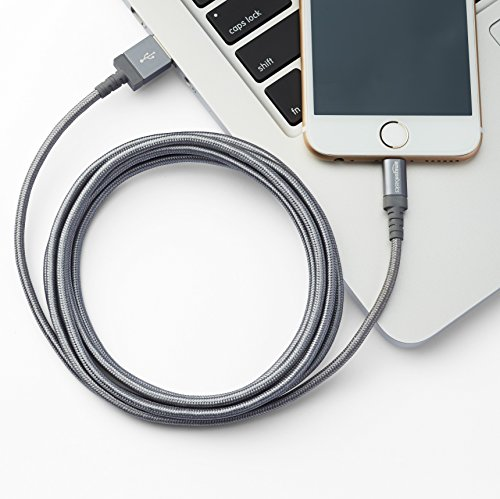 AmazonBasics – Cavo USB-Lightning con guaina in nylon intrecciato, certificato Apple, 0,9 m, grigio scuro