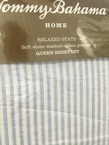 Tommy Bahama Paloma Beach Blue in White Stripe Relaxed State Sheet Set - Queen