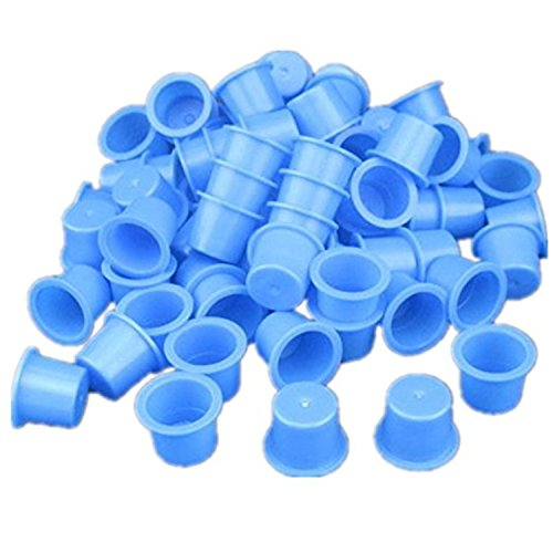 1000pcs Small Size 9mm Tattoo Ink Cap Cups Supply (Blue)