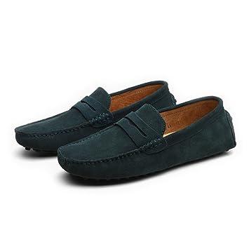 Conducción de los Hombres Penny Loafers Suede Cuero Genuino Casual Mocasines Slip-On Boat Shoes (Color : Verde, tamaño : 39 EU): Amazon.es: Hogar
