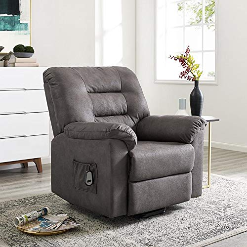 Naomi Home Fayette Power Lift & Recline Upholstered Chair with Remote Gray