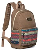 Kinmac Brown-Bohemian Canvas Small Size Laptop Backpack with Massage Cushion Straps for Laptop Up to 13 inch Macbook Air Pro 13 Travel Outdoor Backpack for teenagers girls women Student Kids' Backpack