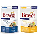 Bravo Bonus Bites Freeze-Dried Grain Free Dog Treats Variety Pack – Turkey Heart and Chicken Breast (2-3 Oz. Each) For Sale