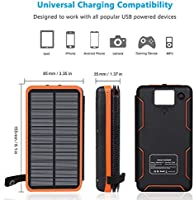 ADDTOP Cargador Solar 25000mAh Power Bank Portátil con 2 Ports 2.1A Output Batería Externa Impermeable con 4 Paneles Solar para iPhone, iPad y Samsung ...