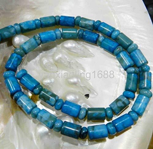 (FidgetGear 6X9MM LARIMAR Blue Crazy LACE Agate Column Loose Beads 15