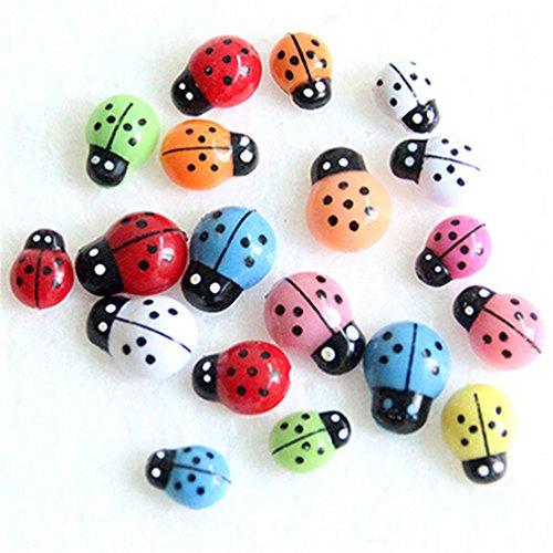 Floralby 100Pcs Miniature Fairy Garden Colorful Ladybugs DIY Flowerpot Plant Pot Decoration 3D Wall Stickers