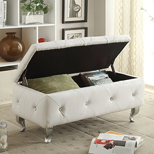 AC Pacific White Crystal Tufted Storage Bench