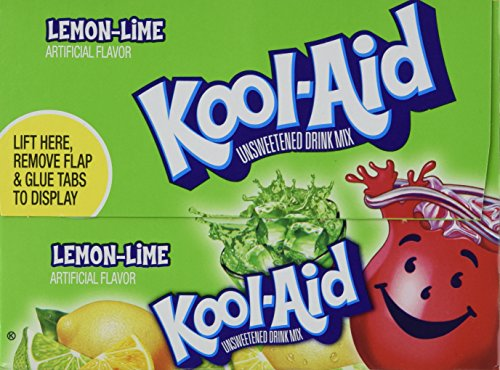 Kool-Aid Lemon Lime Unsweetened Soft Drink Mix, 0.13 Oz (Bonus Pack of 50 Packets) (Ounce 0.13 Pack)