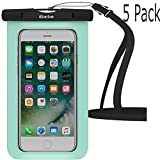 Waterproof Case,5 Pack iBarbe Universal Cell Phone Dry Bag Pouch Underwater Cover for Apple iPhone 7 7 plus 6S 6 6S Plus SE 5S 5c samsung galaxy Note 5 s8 s8 plus S7 S6 Edge s5 etc.to 5.7 inch,Teal
