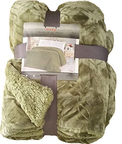 Fancy Collection Twin Size Embossed Blanket Sumptuously Soft Plush Sollid Sage Green with Sherpa Revirsable Winter Blankets Bedspread Super Soft New (Twin - Green Sherpa
