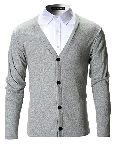 FLATSEVEN Mens Slim Fit Stylish Button up Cardigan (C100) Grey, S by FLATSEVEN