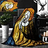 Unique Custom Double Sides Print Flannel Blankets Trippy Decor Pop Art Style Funky Unusual Stained Glass Window Thai Art Pattern Tra Super Soft Blanketry for Bed Couch, Throw Blanket 60 x 40 Inches