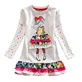 3-8 Years Old, Toddler Baby Girl Long Sleeve Floral Flower Party Dress Outfits Clothes (D-White, 6-7Years)