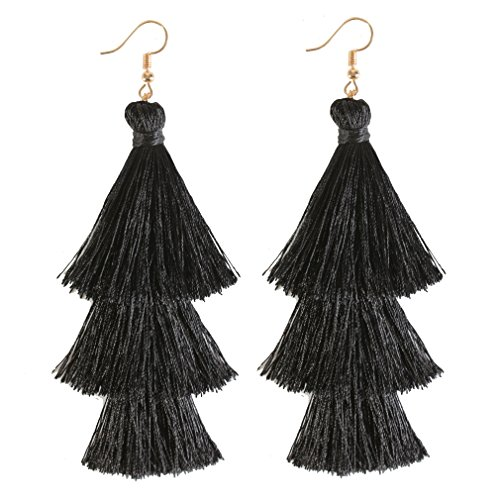 ELEARD Tassel Earrings Tiered Thread Tassel Dangle Earrings Statement Layered Tassel Drop Earrings (3 Layers Black)