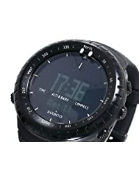 Suunto Core Wrist-Top Computer Watch with Spare Replacement Band Bundle (All Black with Red Rubber Replacement Band)