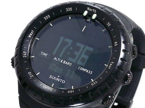 Suunto Core Wrist-Top Computer Watch with Spare Replacement Band Bundle (All Black with Blue Rubber Replacement Band)
