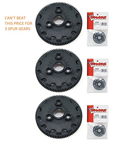 TRAXXAS SPUR GEAR 4690 SPUR GEAR 90T 48P (3pcs) THESE ARE GOOD FOR THE SLASH, RUSTLER, STAMPEDE, BANDIT, SKULLY, BIGFOOT 2WD XL-5 - Traxxas Spur 48p Gear