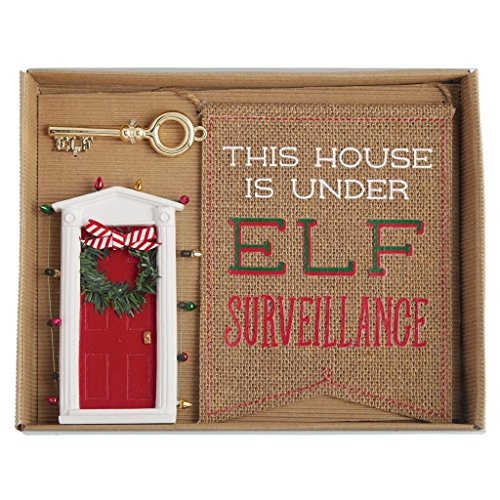 Mud Pie Merry and Bright Collection Mini ELF Door Key and Flag Sign Gift Set]()
