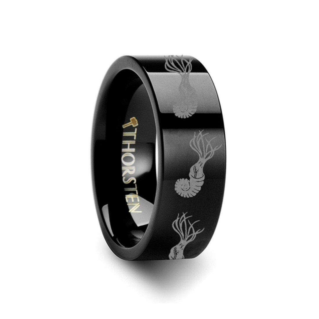 Thorsten Dinosaur Ring Ammonite Prehistoric Paleo Flat Black Tungsten Ring 6mm Wide Wedding Band from Roy Rose Jewelry
