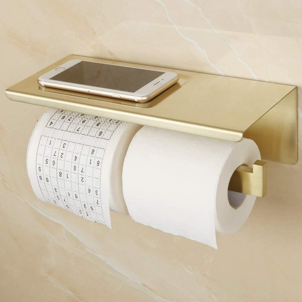 Hanting Toilet Paper Holder SUS 304 Stainless Steel Brushed Gold Bathroom Tissue Paper Roll Holder Wall Mount
