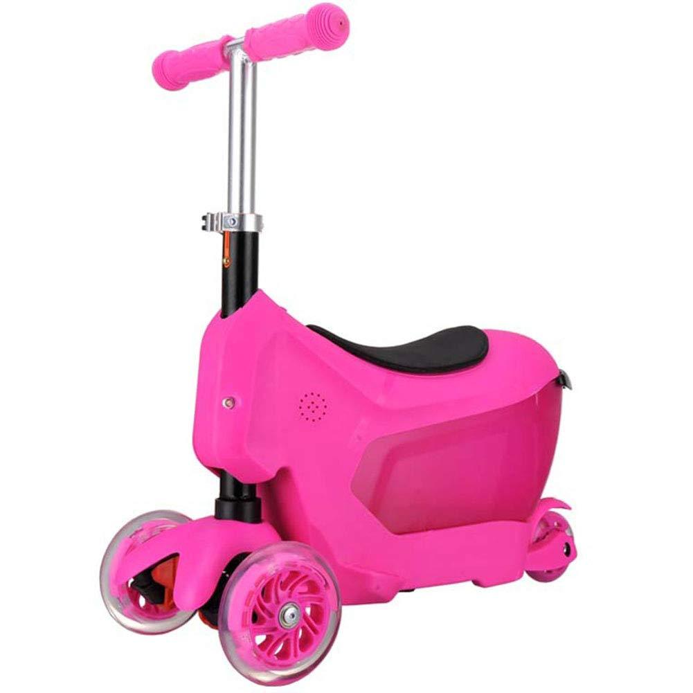 キックスクーター 足踏み式ブレーキ 折りたたみ式 ウィール ハンドブレーキ 持ち運び便利なベ 1の3 持ち上げることができます Puフラッシュホイール 子 アルミニウム製 立 ピンク