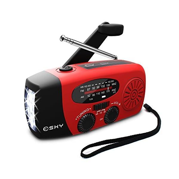 51jsjYLwmeL. SS600  - [Upgrade] Esky Emergency Radios Hand Crank Self Powered Solar FM/AM/NOAA Weather Radio with 3 LED Flashlight 1000mAh Power Bank Phone Charger