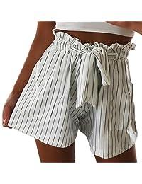 Women Casual Shorts Striped Pocket High Waist Bandage Easy Elastic Pants