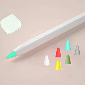 HappyCover Compatible with Apple Pencil Tips,Professional Liquid Silicone Nibs Cover Replacement for 1st & 2nd Gen,Anti-slip Protective Case for Apple Pencil. (Pink+White+Mint Green+Yellow+Red+Matcha)
