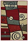 Anti-Bacterial Rubber Back AREA RUGS Non-Skid/Slip 5x7 Floor Rug | Red Abstract Geometric Shapes Indoor/Outdoor Thin Low Profile Living Room Kitchen Hallways Home Decorative Traditional Area Rug