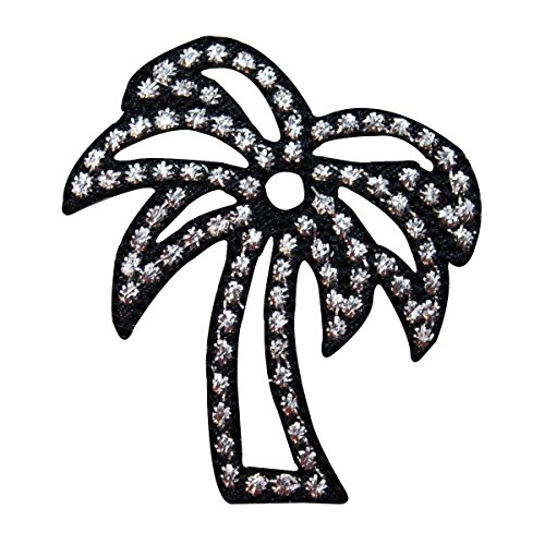 ID 1724A Shiny Palm Tree Patch Ocean Beach Craft Embroidered Iron On Applique