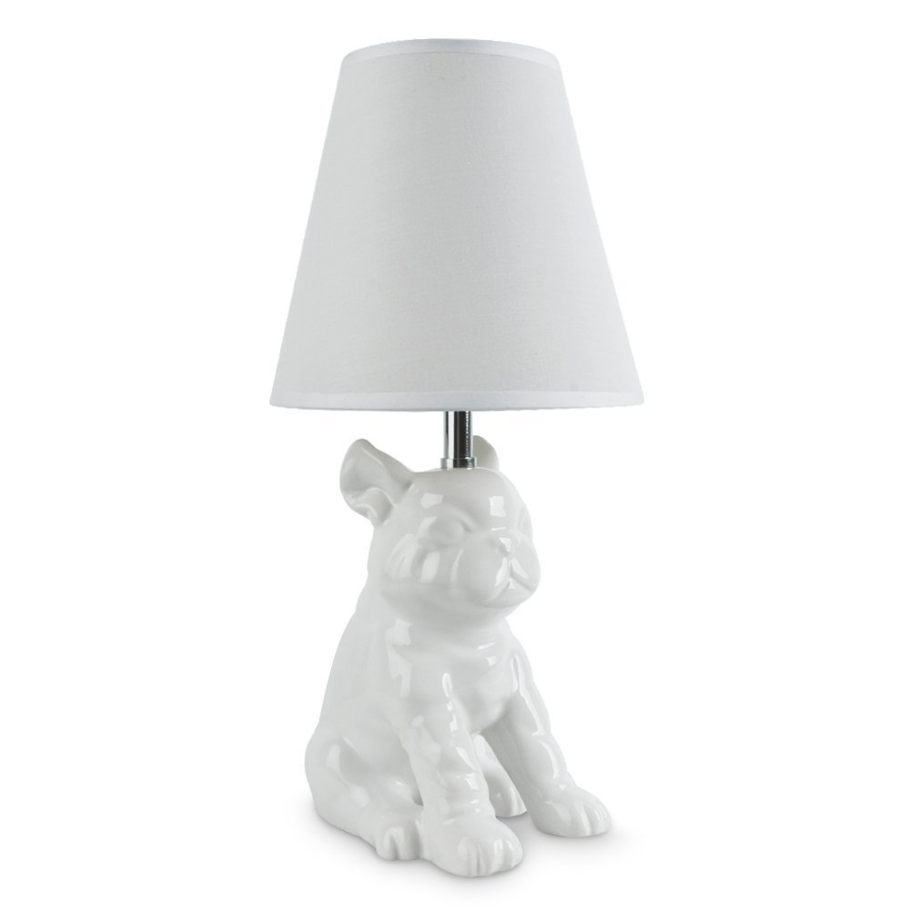 Modern white ceramic french bull dog table lamp with a white modern white ceramic french bull dog table lamp with a white polycotton light shade amazon lighting geotapseo Gallery