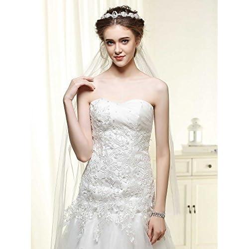 Venusvi Bridal Wedding Veil for Bride with Flower Women's Handmade Wedding Headband (ivory, rhinestone)