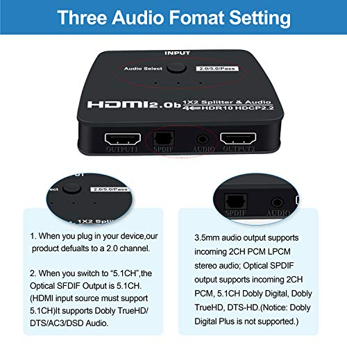 NEWCARE 1x2 HDMI Splitter with Audio Extractor 4k@60Hz Powered 1 ...