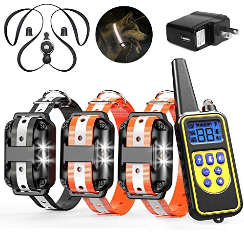 Veckle Dog Training Collar, 2019 Upgraded Rechargeable Shock Collar for 3 Dogs Waterproof Dog Shock Collar with Remote…