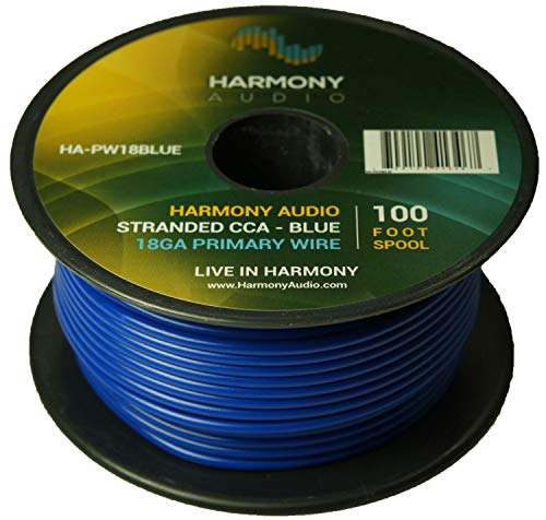 Wire Blue Ground Cable (Harmony Audio HA-PW18BLUE Primary Single Conductor 18 Gauge Blue Power or Ground Wire Roll 100 Feet Cable for Car Audio/Trailer/Model Train/Remote)