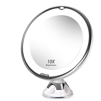BEAUTURAL Grossissant Miroir Maquillage 10x Avec Lumires LED 1 Joint Bille Ventouse Dattache