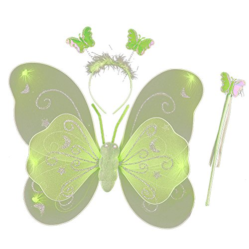 BOBORA Kids Halloween Festival Stage Costume Props Fairy Wings Wand Headband 3PC (Tinkerbell Costume For Toddler)