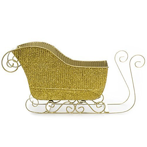 The Lucky Clover Trading Gold Glitter Sleigh Basket - Large 10in